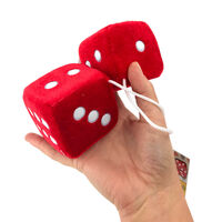 Fluffy Dice Red with White Dots