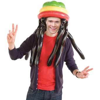 Massive Head - Rasta Hat & Dreadlocks Giant Inflatable Wig