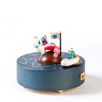 Birthday in Space Moving Wooden Musical Box