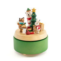 Christmas Morning Moving Wooden Musical Box