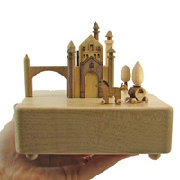 Castle and Carriage Moving Wooden Musical Box