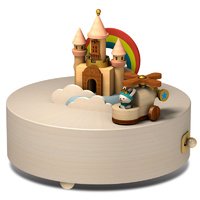 Happy Clouds and Castle Moving Wooden Musical Box