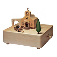 Wedding Church Moving Wooden Musical Box1}
