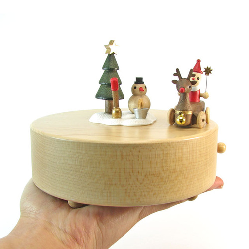 Santa and Reindeer Moving Wooden Musical Box
